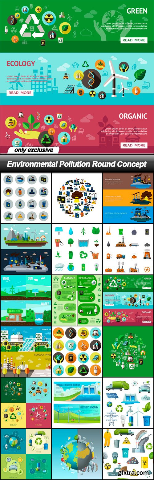 Environmental Pollution Round Concept - 18 EPS
