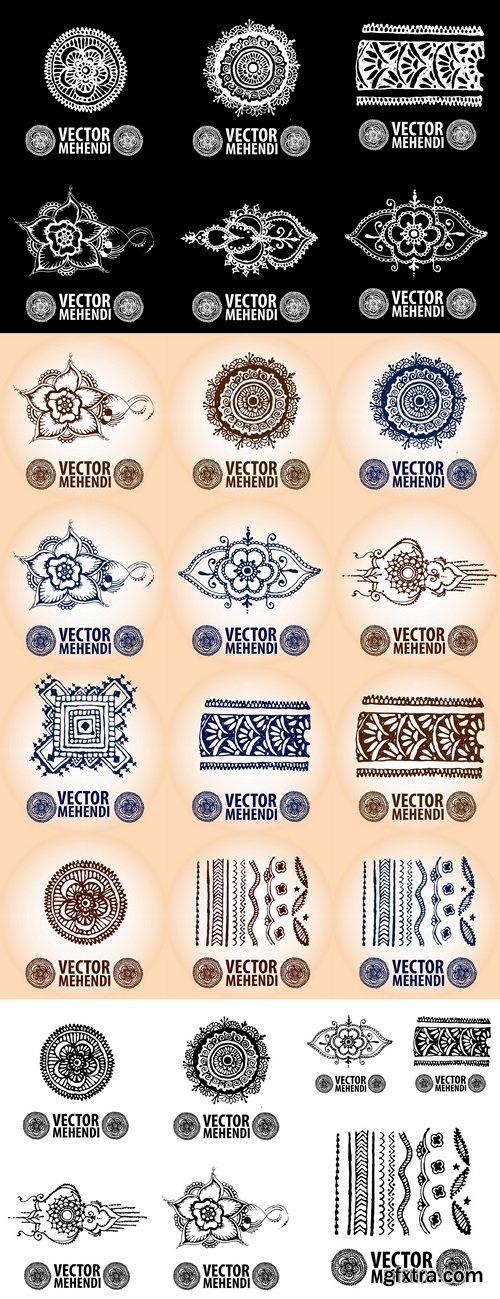 illustration mehendi, henna tattoo