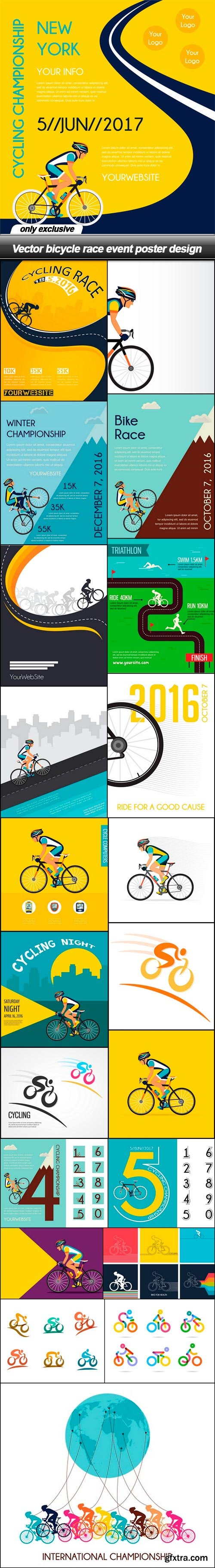 Vector bicycle race event poster design - 22 EPS