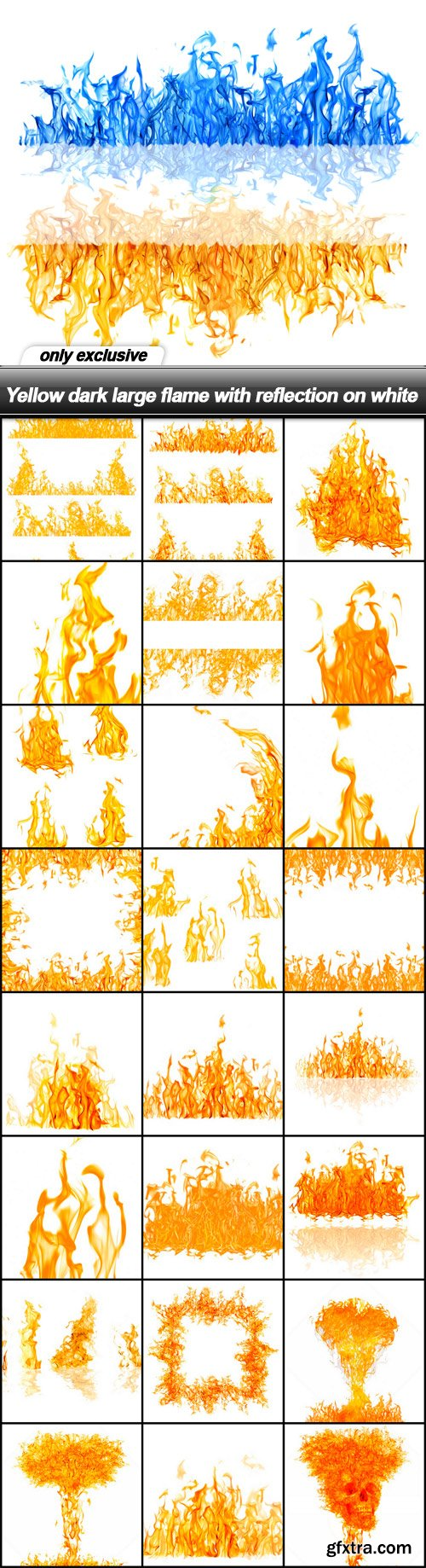 Yellow dark large flame with reflection on white - 25 UHQ JPEG