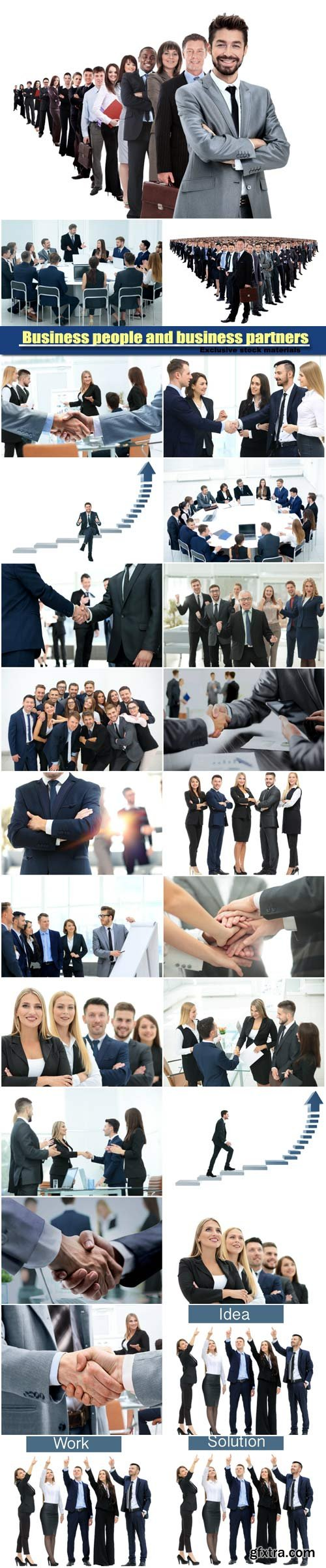 Business people and business partners greeting each other with handshake, conference