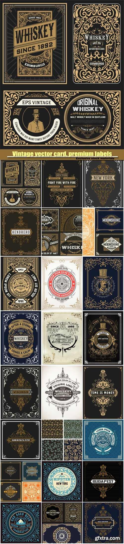 Vintage vector card, premium labels, vintage ornaments