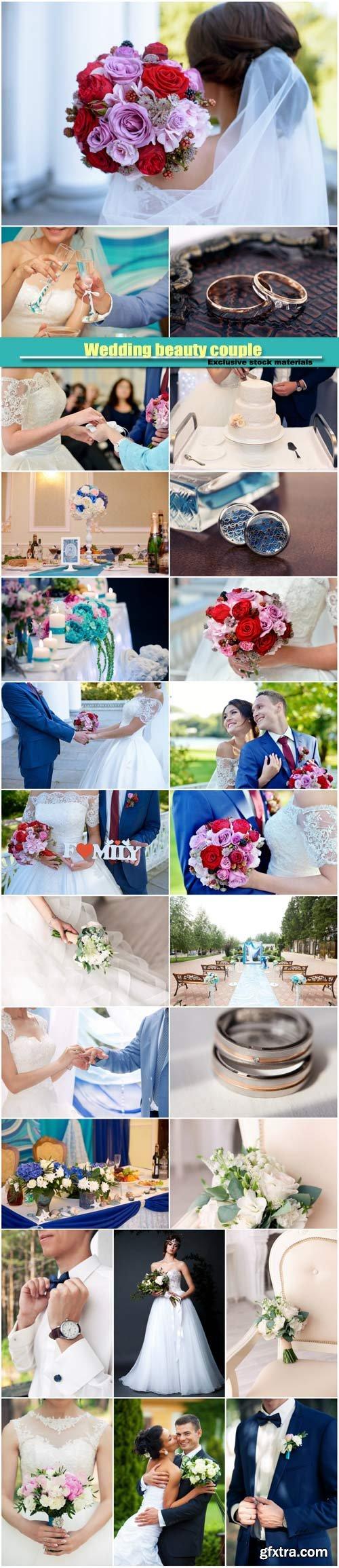 Wedding beauty couple, wedding decor, wedding rings, bride with groom