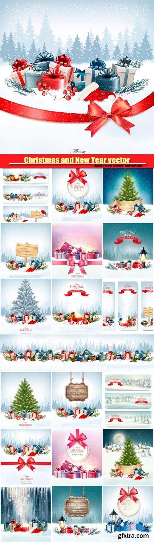 Christmas and New Year vector, holiday background, christmas tree and presents