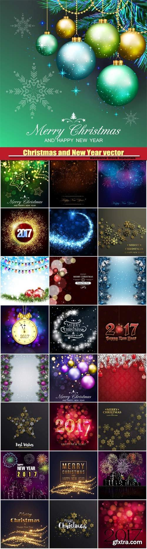 Christmas and New Year vector, abstract bokeh lights, christmas balls