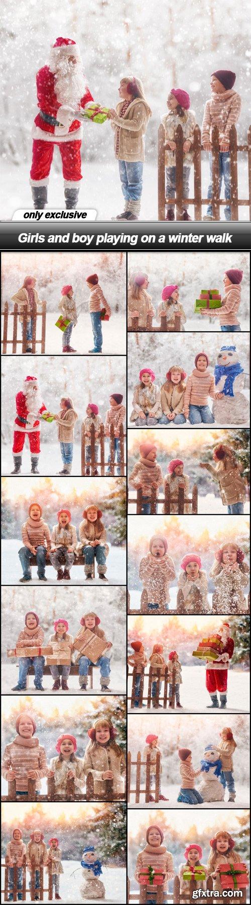 Girls and boy playing on a winter walk - 13 UHQ JPEG