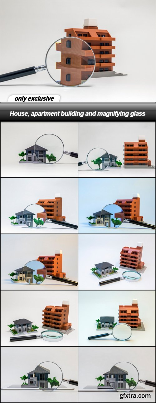 House, apartment building and magnifying glass - 11 UHQ JPEG
