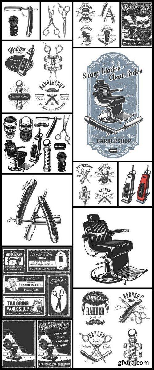 Barber shop vector - 15 EPS Vector Stock