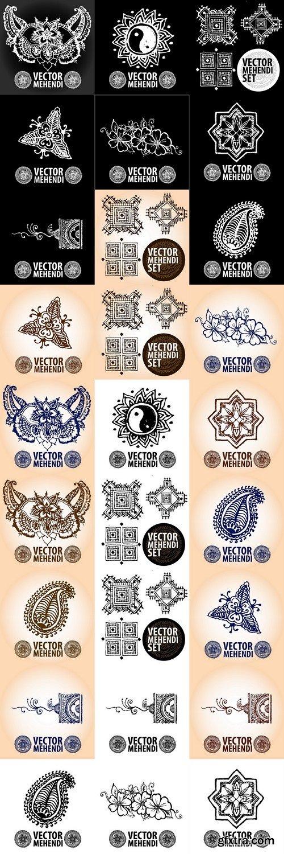 Illustration mehendi, henna tattoo 3