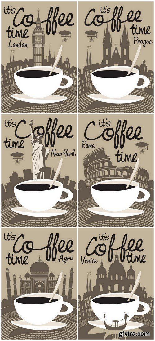 It's Coffee Time in Different Countries - 6xEPS Vector Stock