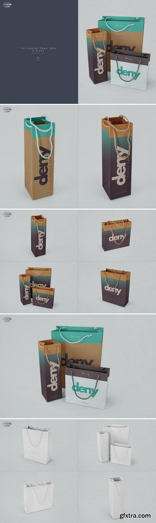 CM - Corrugated Paper Bag 3 Types Mockup 749350