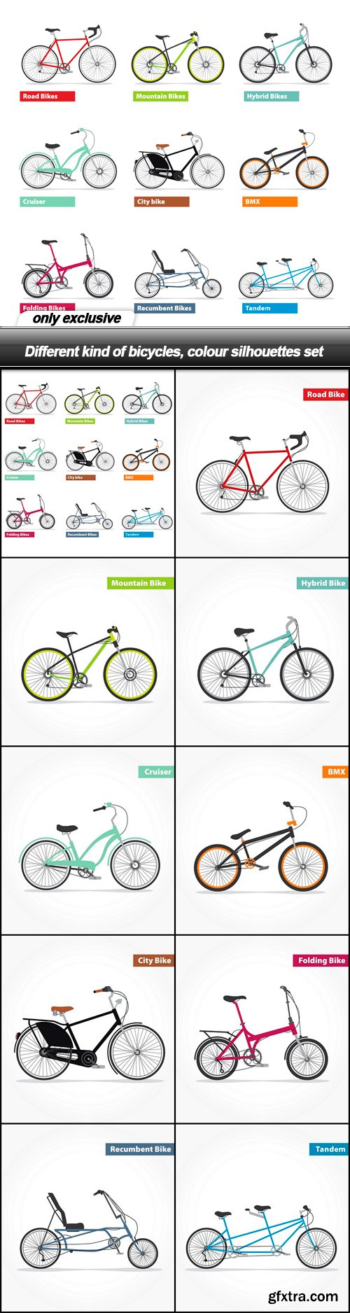 Different kind of bicycles, colour silhouettes set - 10 EPS