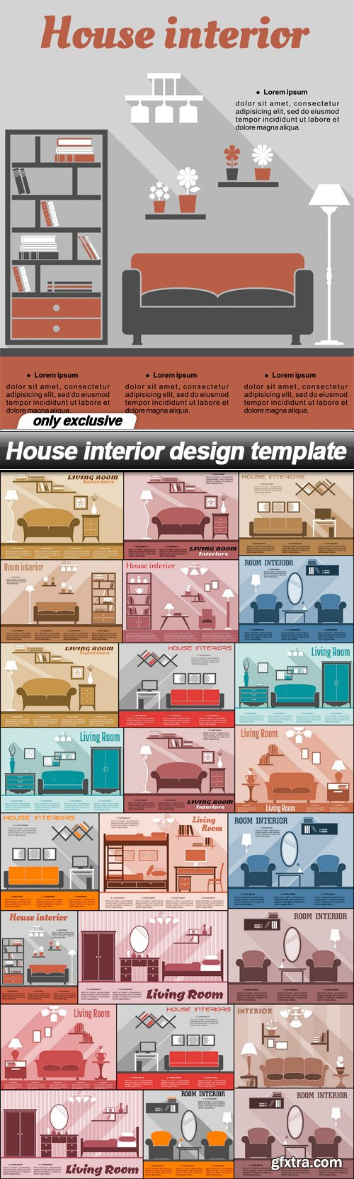 House interior design template - 24 EPS