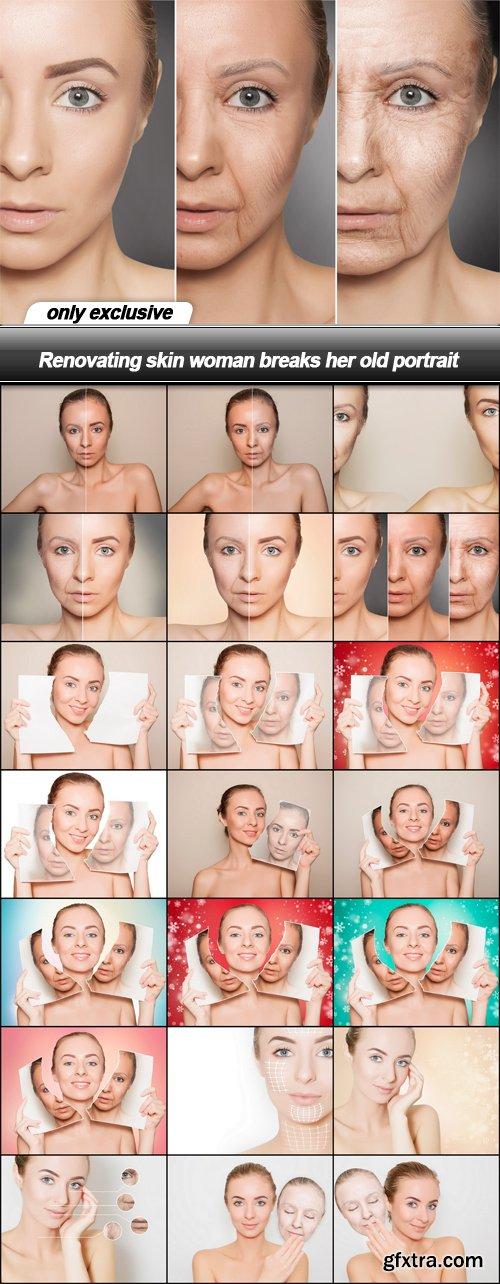 Renovating skin woman breaks her old portrait - 21 UHQ JPEG