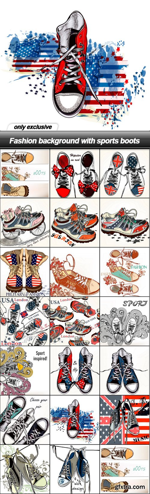 Fashion background with sports boots - 20 EPS