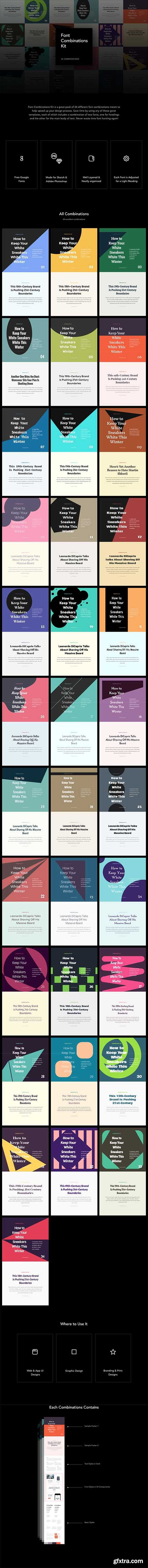 Font Combinations Kit - 34 Excellent font combination templates