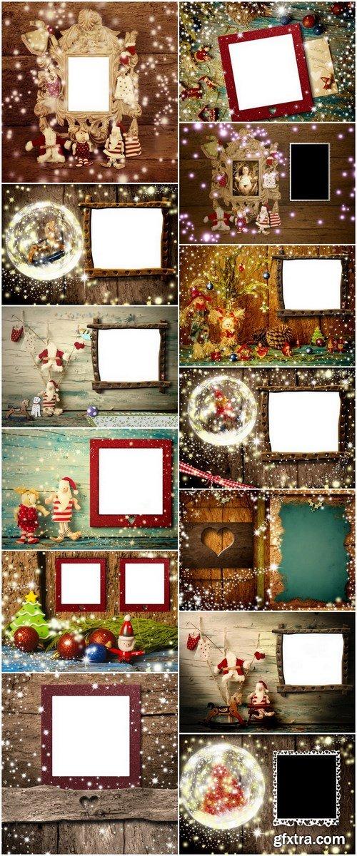 Christmas Photo Frame Cards - 13 UHQ JPEG Stock Images