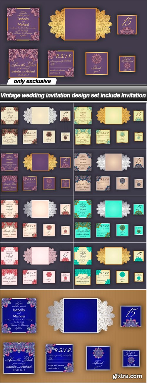 Vintage wedding invitation design set include invitation 9 eps vintage wedding invitation design set include invitation 9 eps stopboris Choice Image