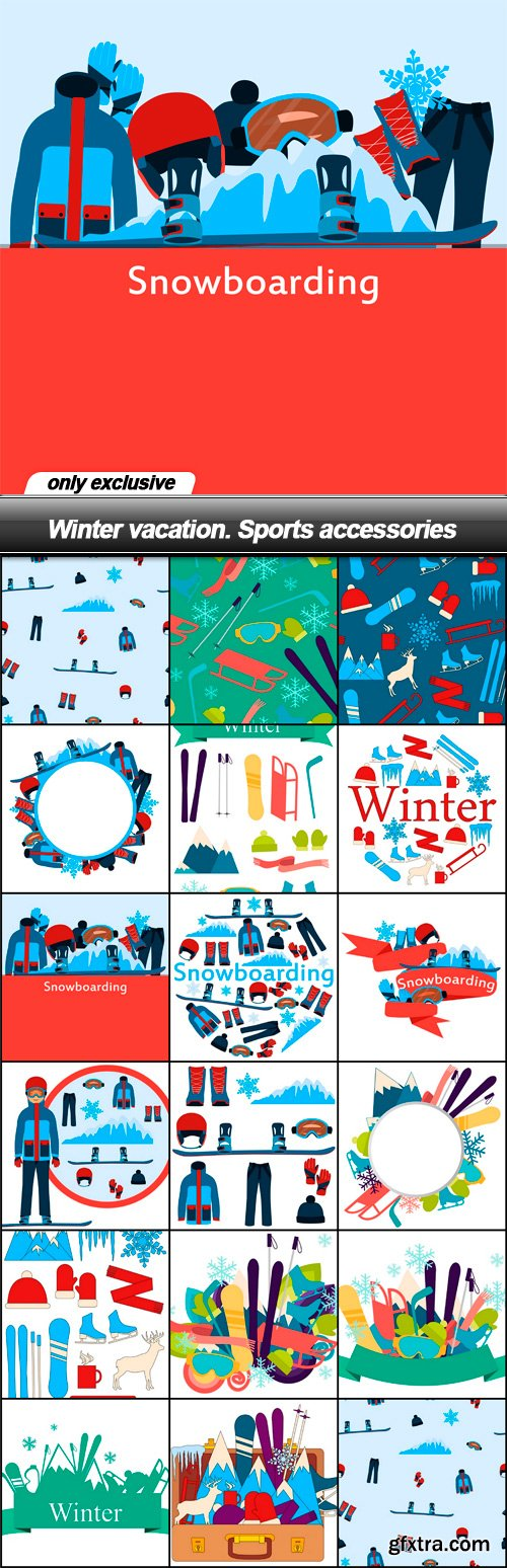 Winter vacation. Sports accessories - 17 EPS