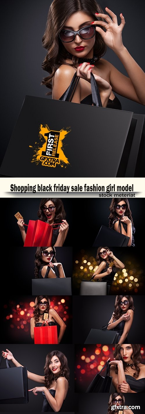 Shopping black friday sale fashion girl model
