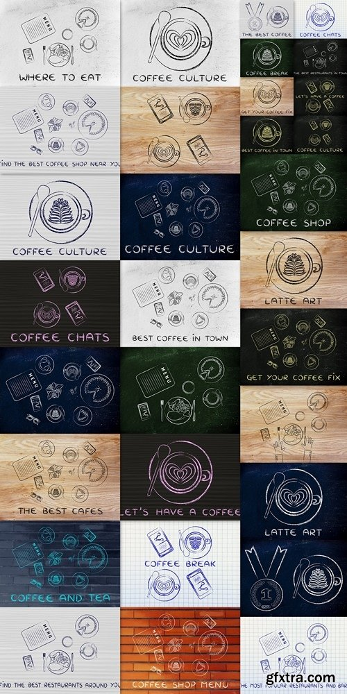 Cappuccinos with latte art and phones, illustration with text Co