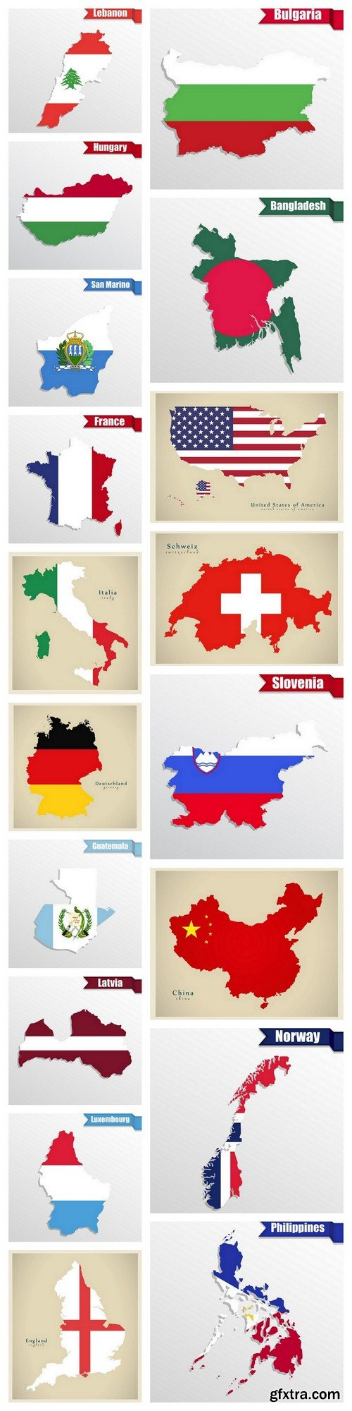 Countries - 18 EPS Vector Stock