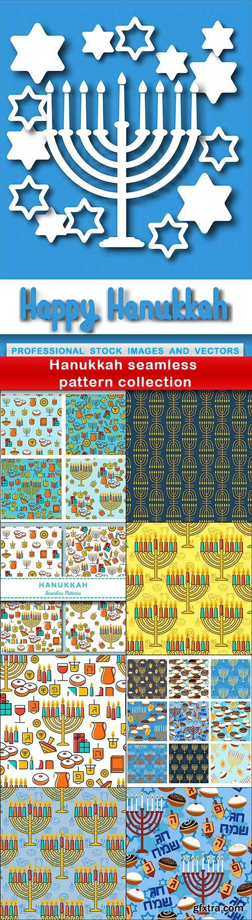 Hanukkah seamless pattern collection - 9 EPS