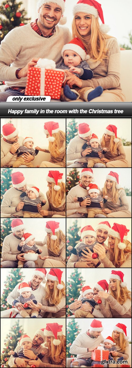 Happy family in the room with the Christmas tree - 11 UHQ JPEG