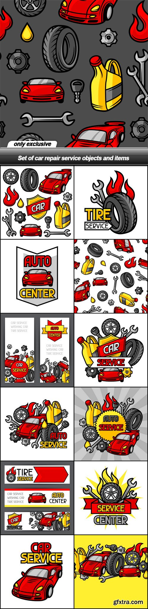 Set of car repair service objects and items - 13 EPS