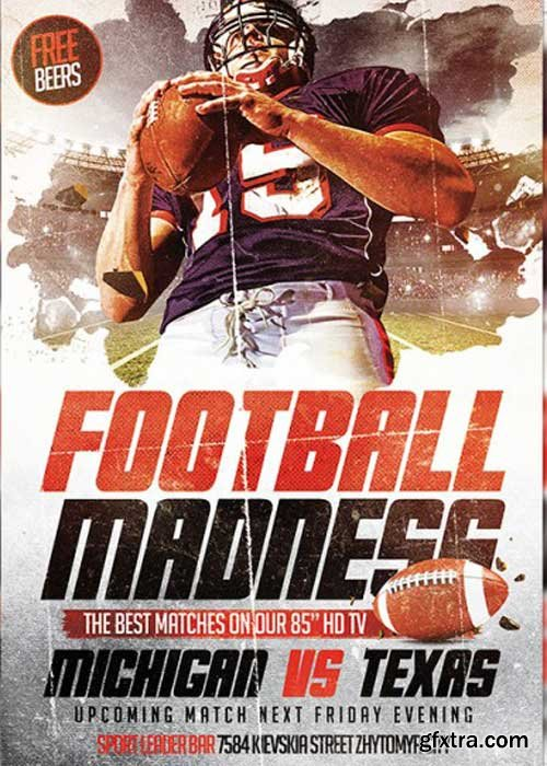 Football Madness V7 Premium Flyer Template + Facebook Cover