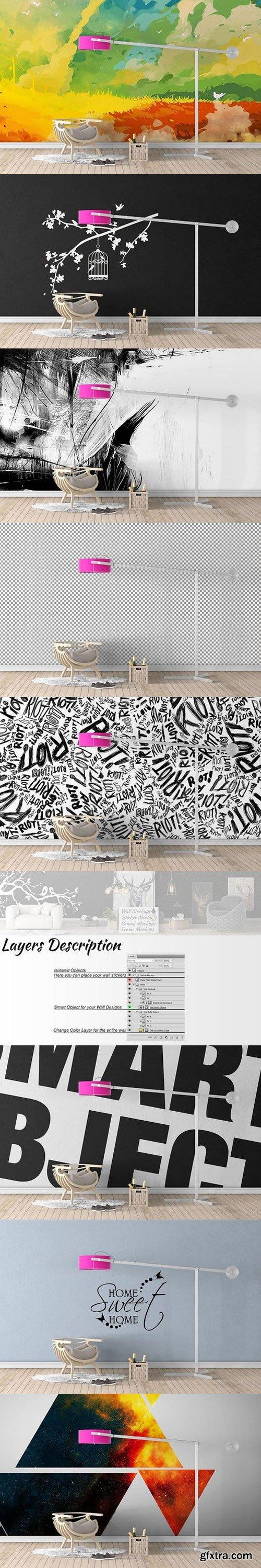CM - Wall Mockup - Sticker Mockup Vol 29 990761