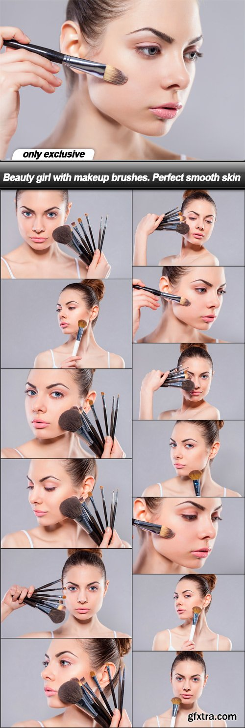Beauty girl with makeup brushes. Perfect smooth skin - 13 UHQ JPEG