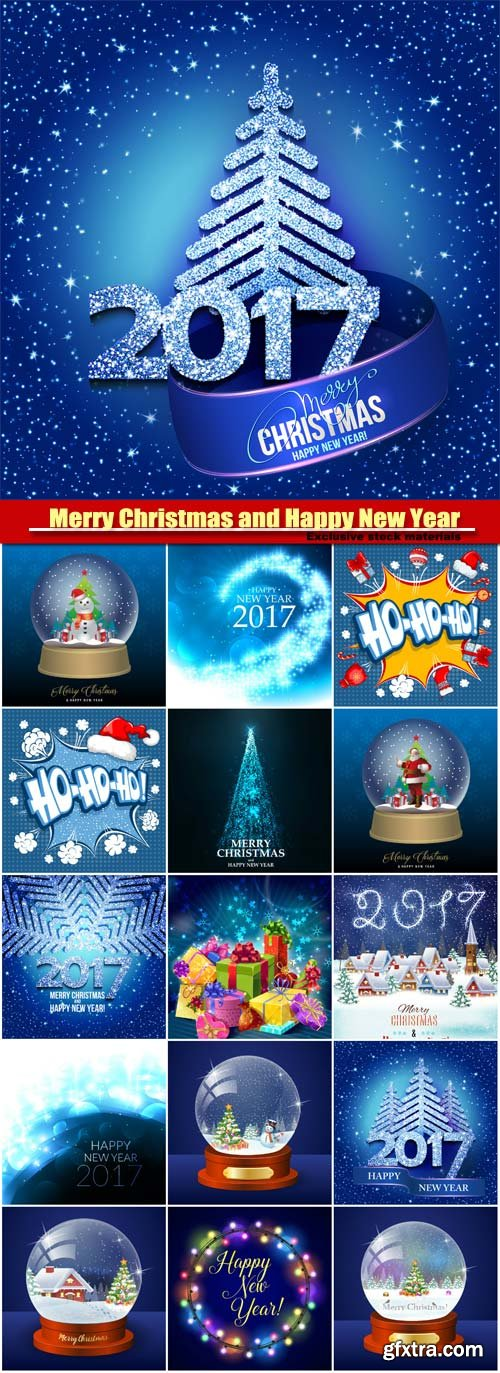 Merry Christmas and Happy New Year vector, Christmas trees, winter globe with christmas tree