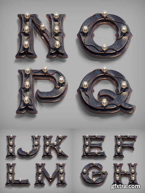 3D Render Vintage Steam-Punk Alphabet