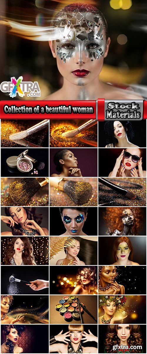 Collection of a beautiful woman girl with makeup powder brush lips 25 HQ Jpeg