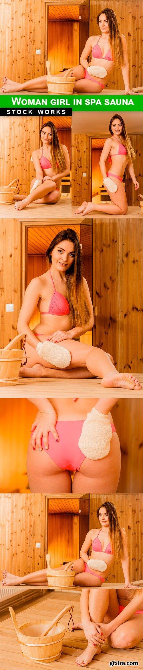 Woman girl in spa sauna