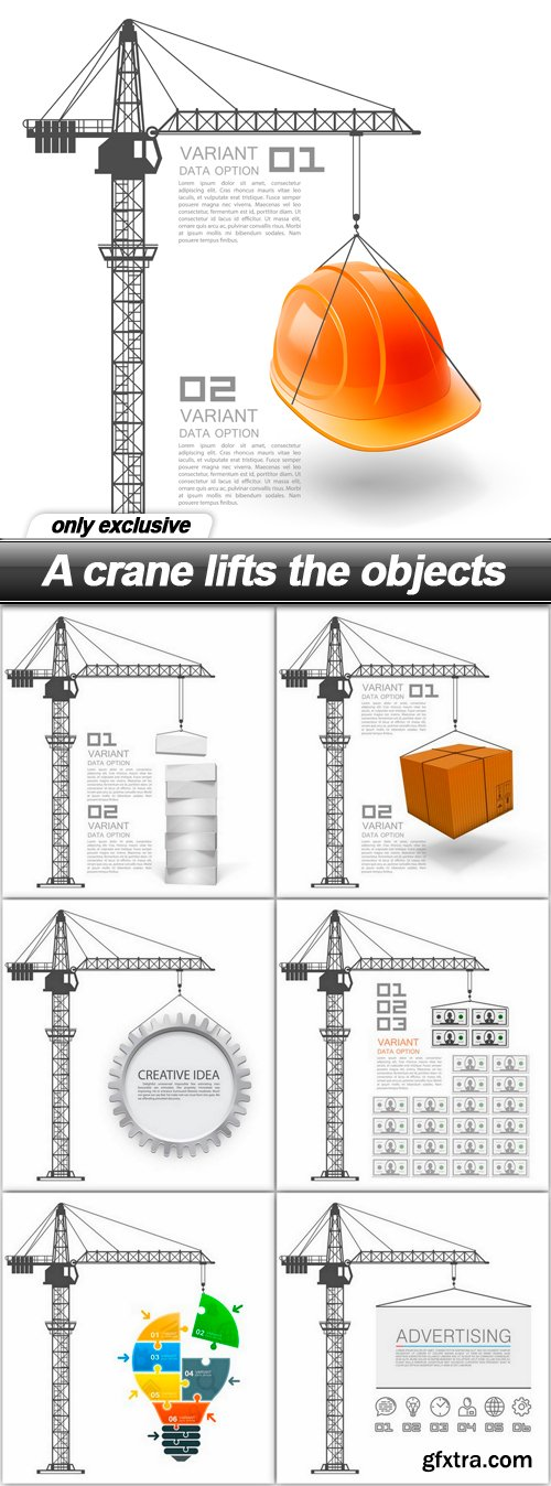 A crane lifts the objects - 7 EPS