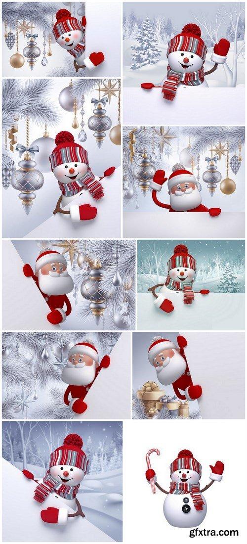 3D Snowman and Santa Claus - 10 UHQ JPEG Stock Images