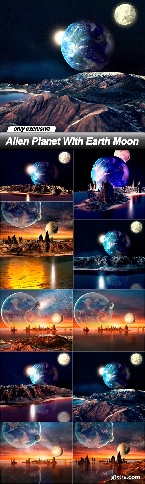 Alien Planet With Earth Moon - 10 UHQ JPEG
