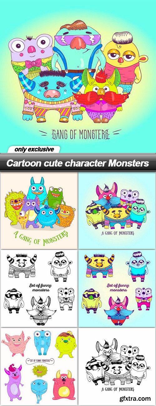 Cartoon cute character Monsters - 7 EPS