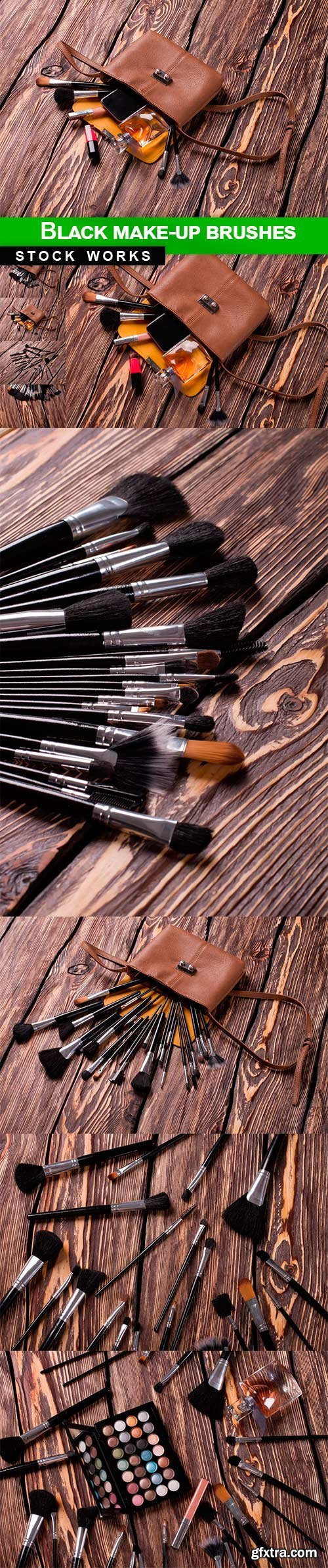 Black make-up brushes