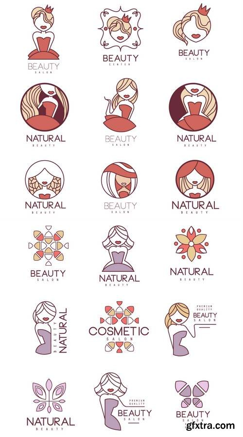 Natural Beauty Salon Set Of Hand Drawn Cartoon Outlined Sign Design Templates