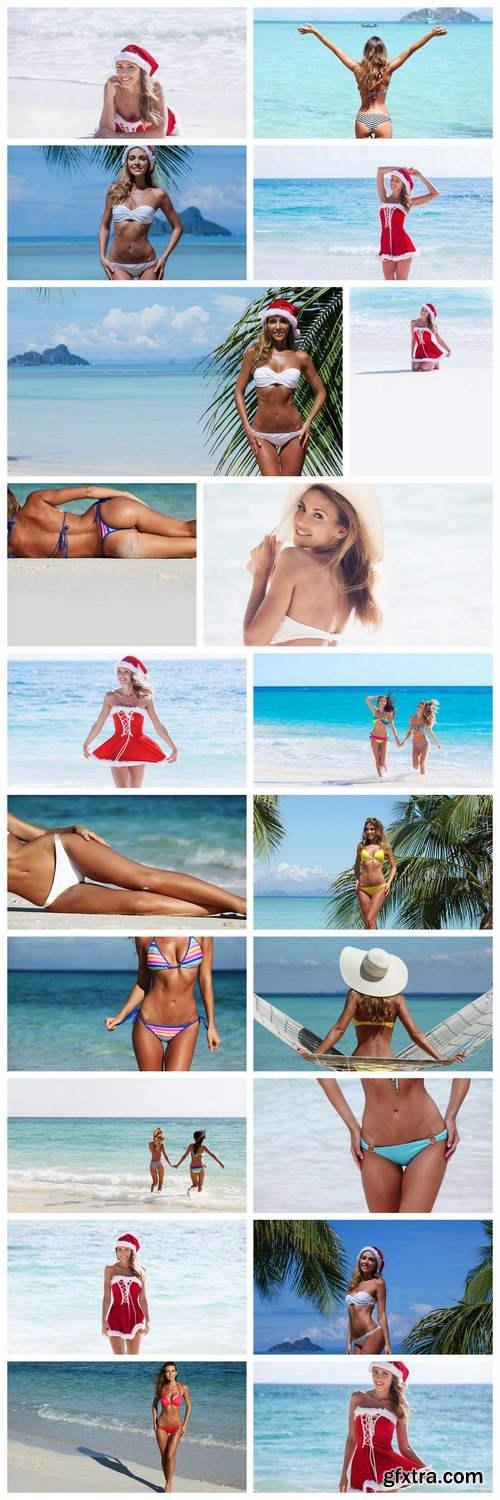 The beautiful girl on the paradise beach 2 - 20xUHQ JPEG Photo Stock