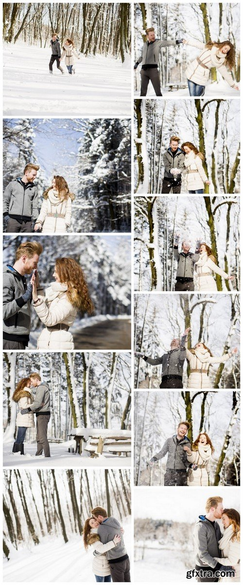 Couple In Love (Winter Landscape) - 11 UHQ JPEG Stock Images