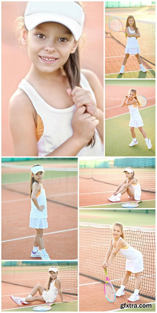 Little lovely girl tennis player