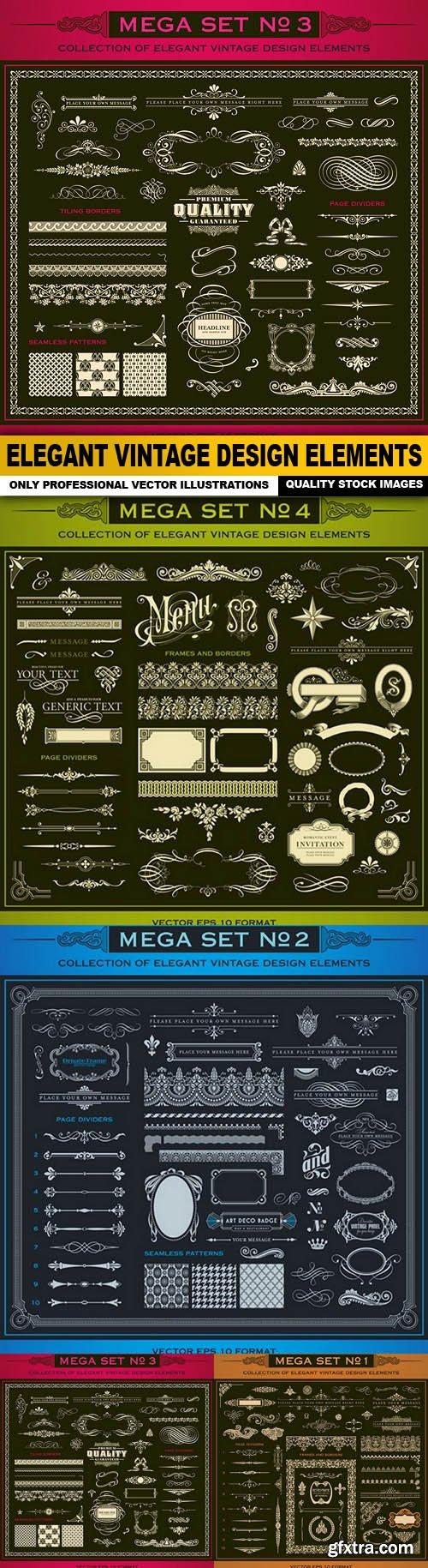 Elegant Vintage Design Elements - 4 Vector