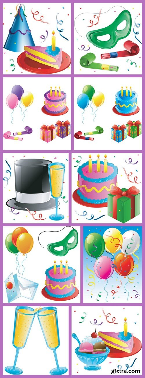 Cakes and balloons 10X EPS