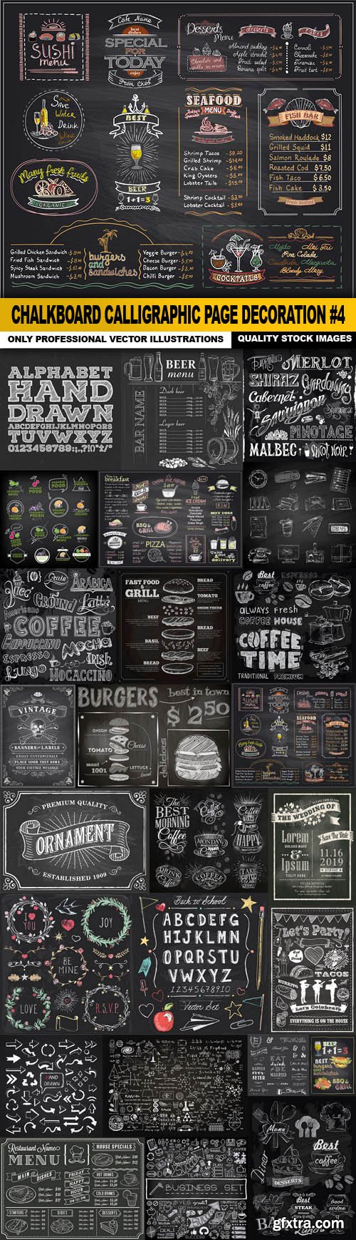 Chalkboard Calligraphic Page Decoration #4 - 25 Vector