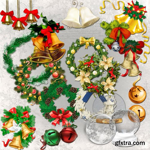 Christmas bells, wreaths and balls