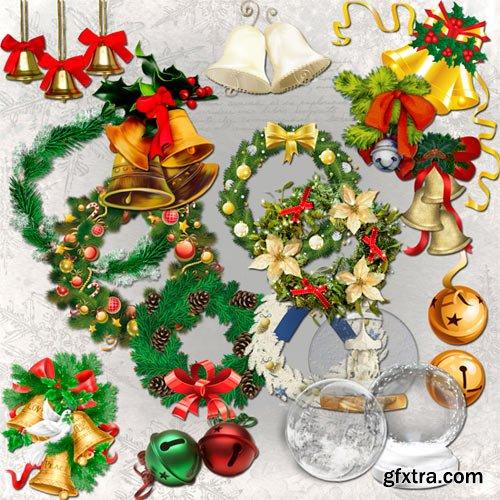 Christmas bells, wreaths and balls